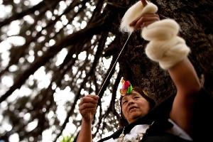 Hilando rueca artesana mapuche
