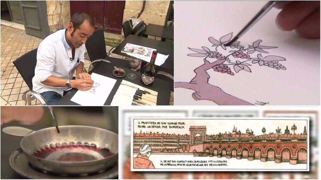 il dessine avec du vin