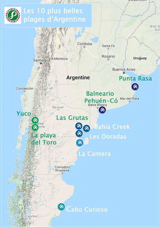 Carte des plus belles plages d'Argentine
