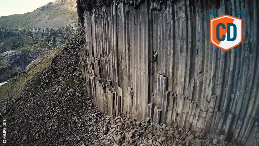 escalade au chili, grimpeur à Valle de Los Condores