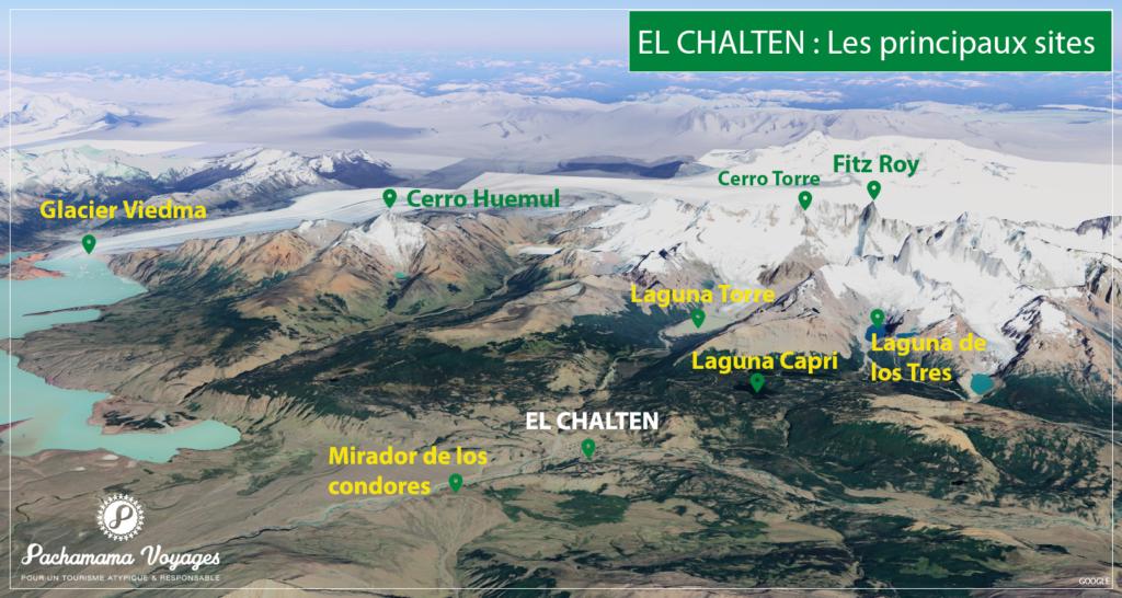 Carte des principaux sites autour d'El Chalten