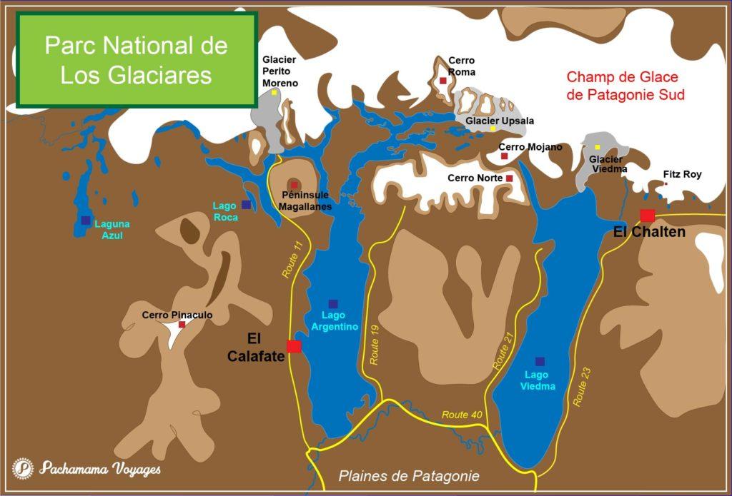 Carte du parc National de Los Glaciares