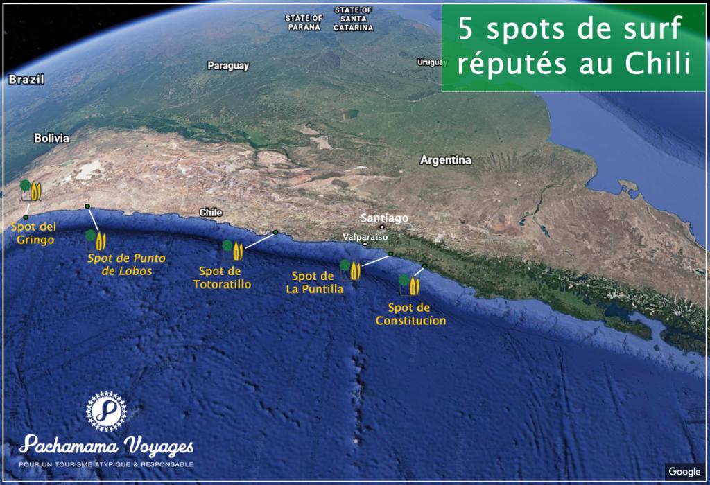 Carte des spots de surf au Chili
