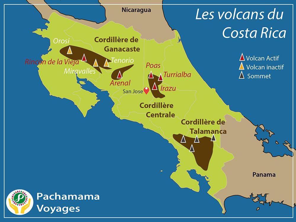 Carte : volcans du Costa Rica