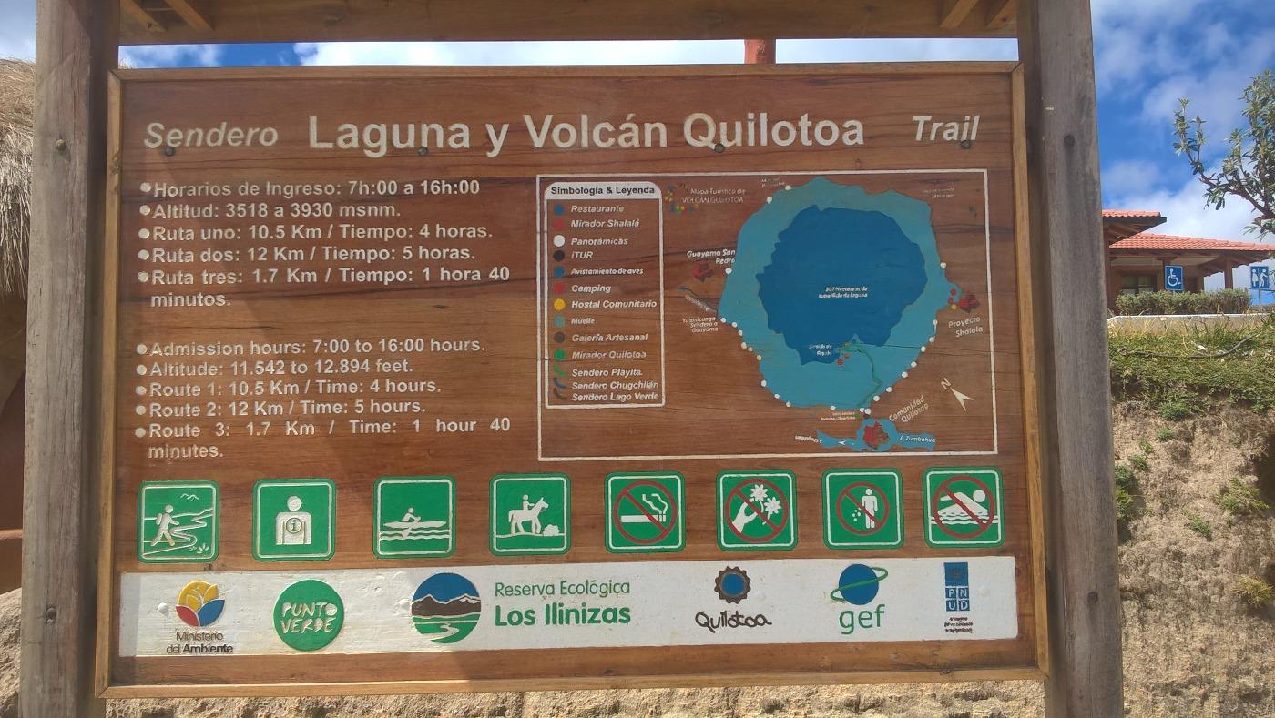 panneau d'informations sur la lagune de Quilotoa