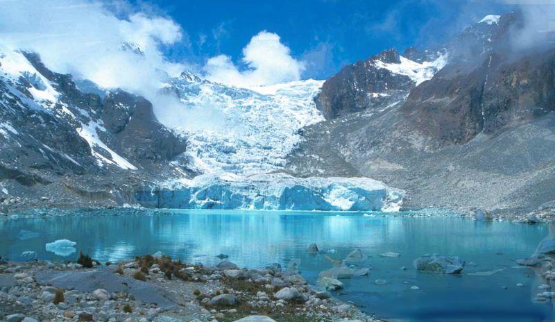 La laguna Glaciar en Bolivie