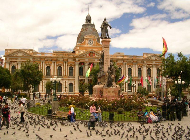 Place Murillo avec le palais brûlé en arrière plan