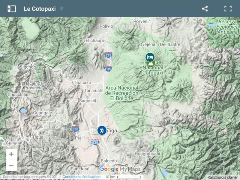 Carte du Cotopaxi
