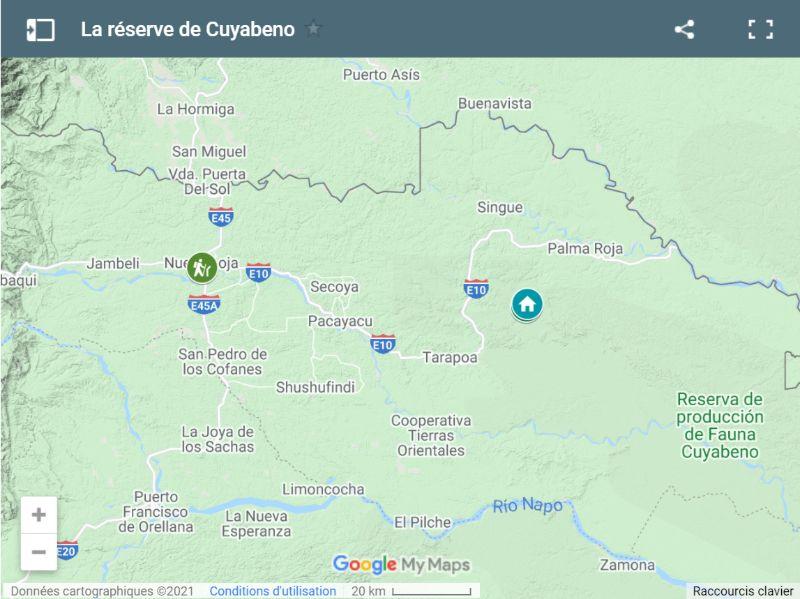 Carte de la réserve de Cuyabeno