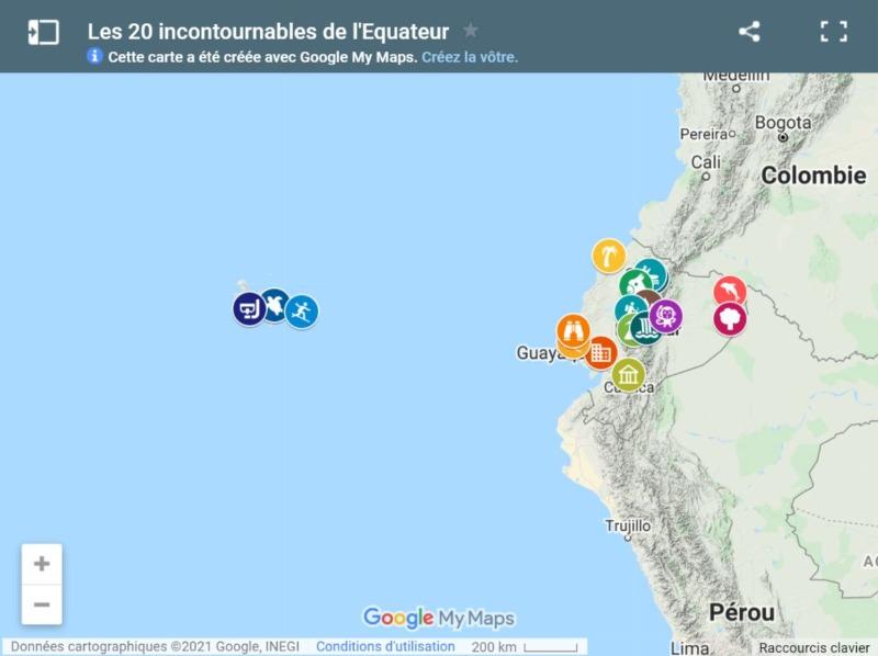 Carte des incontournables de l'Equateur