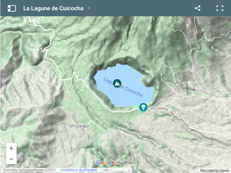 Carte de la lagune de Cuicocha