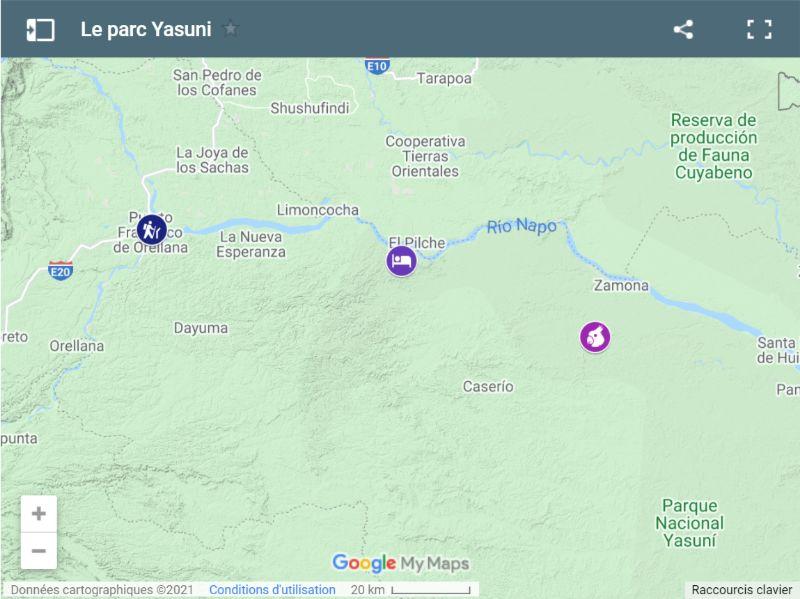 Carte de la réserve Yasuni