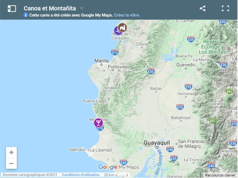 Carte de Canoa et Montanita