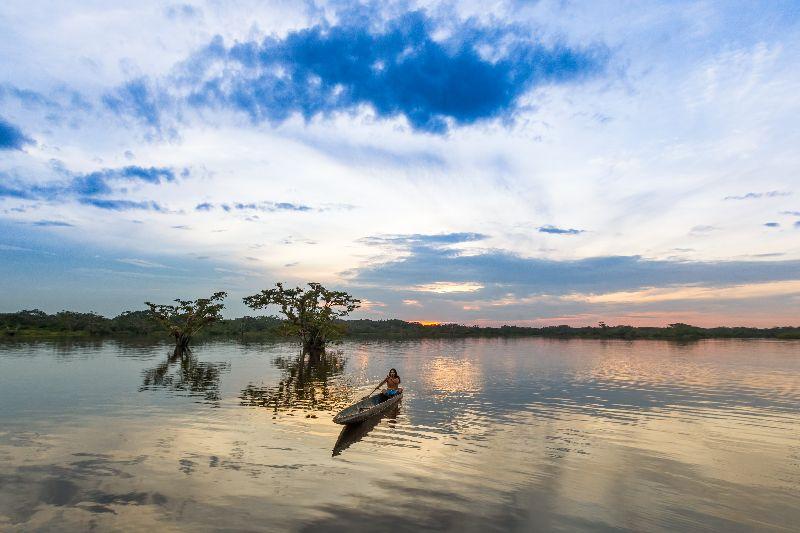 Pyrogue sur la Laguna Grande dans a réserve Cuyabeno