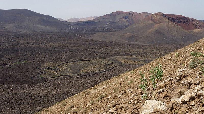 Panorama du parc naturel des volcans sur l'île de Lanzarote